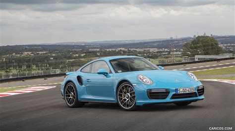 miami blue porsche turbo s 2016 porsche 911 turbo s coupe color miami blue front