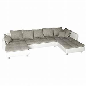 Garnitur U Form : sofa polsterecke vivara wei strukturstoff grau ecksofa von jalano wohnlandschaft u form ~ Indierocktalk.com Haus und Dekorationen