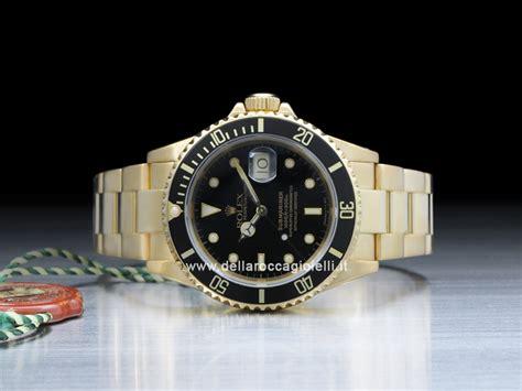 Rolex Submariner Date 16618 Gold Oyster Bracelet Black ...