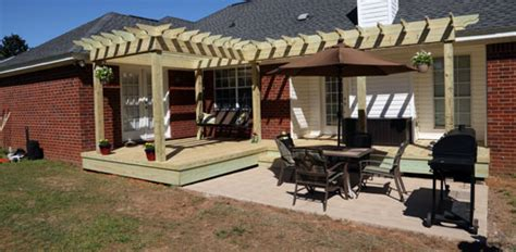 repairing a wood deck and building a pergola shade arbor