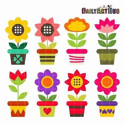 Flower Pots Colorful Clipart Clip Objects Sets