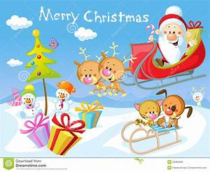 Merry Christmas Design With Santa Stock Vector ...
