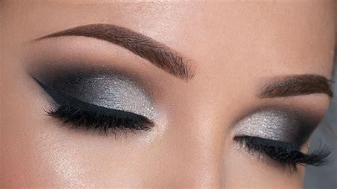 night  makeup tutorial black silver smokey eye