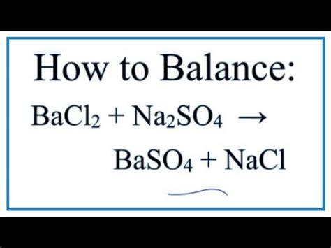 balance bacl naso baso nacl barium chloride sodium sulfate youtube