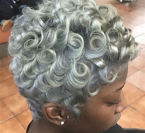 love  pin curls short grey hair natural hair styles gorgeous gray hair