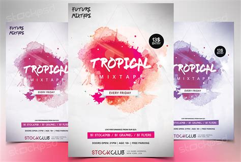 tropical mixtape download free psd flyer template free
