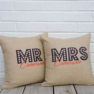 Personalised mr and mrs cushions by the alphabet gift shop for Personalised mr and mrs letters