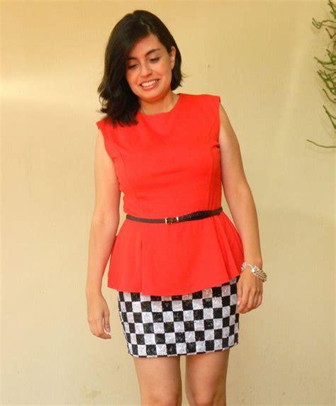 black  white bershka checker skirt tangerine mng peplum
