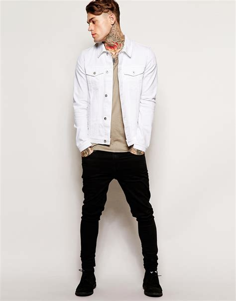 Asos Denim Jacket In Skinny Fit in White for Men | Lyst