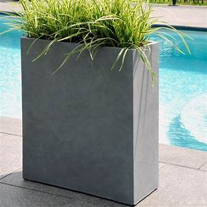 Bac A Fleur Muret : bac fleurs fibre de terre clayfibre l80 h92 cm gris ~ Premium-room.com Idées de Décoration