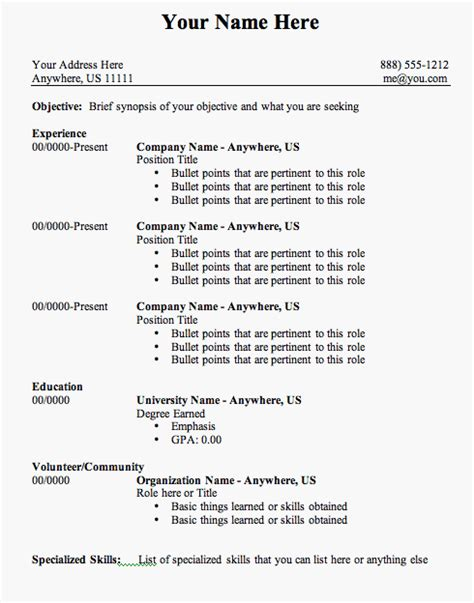 Resume Outline by Pin By Jobresume On Resume Career Termplate Free Resume