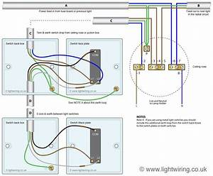 Two Way Light Switching  3 Wire System  New Harmonised Cable Colours  Showing Switch And Ceiling