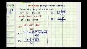 Ex: Quadratic Formula - Two Real Rational Solutions - YouTube
