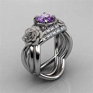 Nature inspired 14k white gold 10 ct amethyst diamond for Amethyst diamond wedding ring set