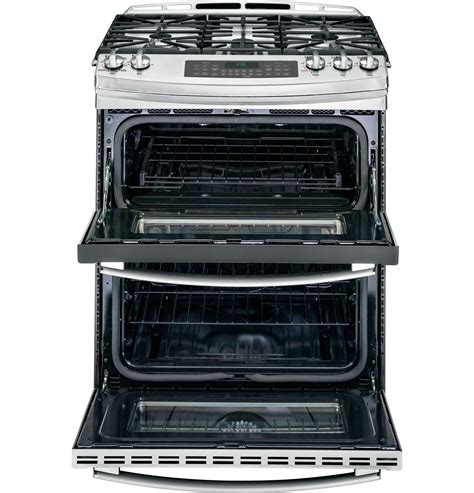 ge  stainless double oven gas range pgssefss
