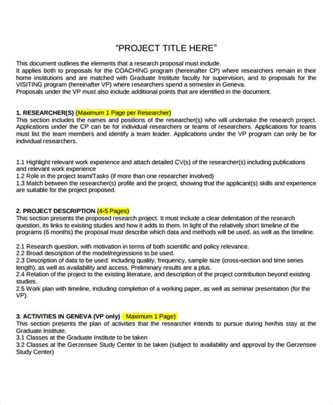 sample research project templates   ms word
