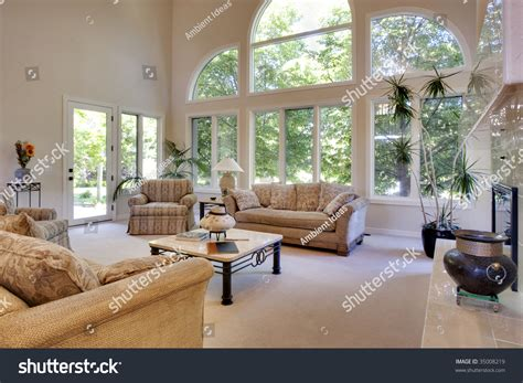 great room vaulted ceilings stock photo