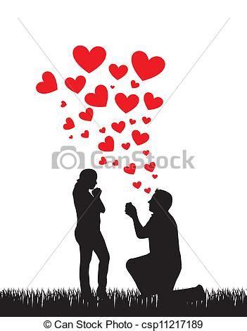 vector  proposal wedding couple silhouette  hearts
