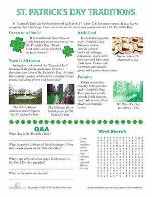 st patricks day traditions worksheet educationcom