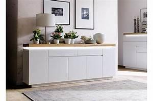 Meuble Blanc Et Bois : meuble buffet 2 m blanc mat et bois lumineux cbc meubles ~ Teatrodelosmanantiales.com Idées de Décoration