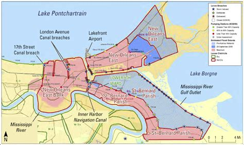 Map of louisiana's levees and canals web map by sah429. Flood Info: Science & Engineering for Greater New Orleans ...