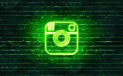 Download wallpapers Instagram green logo, 4k, green ...