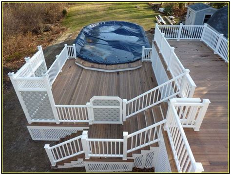 above ground pool steps attached to deck above ground pool decks attached to house home
