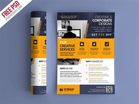 Colorful Corporate Business Flyer Template Psd File Free Business Promotional Flyer Psd Template Psd