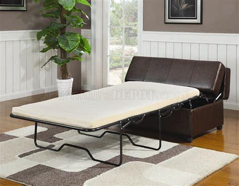brown vinyl modern bench ottoman wfold  sleeper