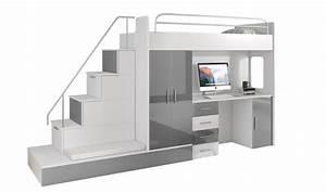 Lit Superposé Rangement : lit mezzanine avec escalier et rangements camille ~ Teatrodelosmanantiales.com Idées de Décoration