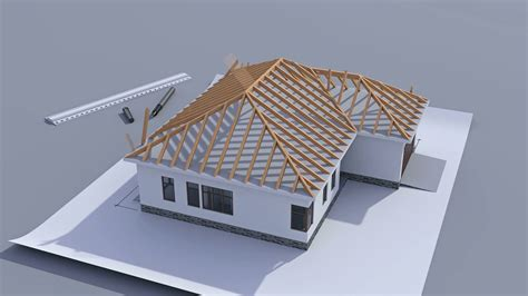 Building a house with a hip roof Timelapse 3d animation