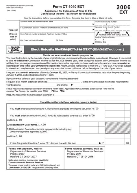 form ct 1040 ext application for extension of time to