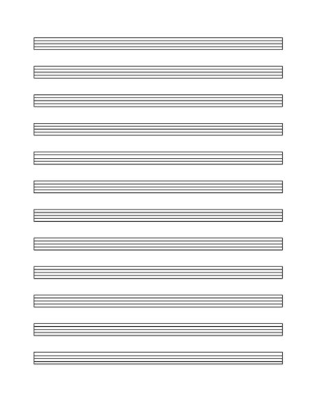 Staffpaper.net has dozens of free printable blank sheet music, tablature, and chord diagram templates in pdf format. Music staff paper (12 per page)