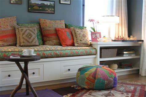 rowena built  bench eclectic living room los