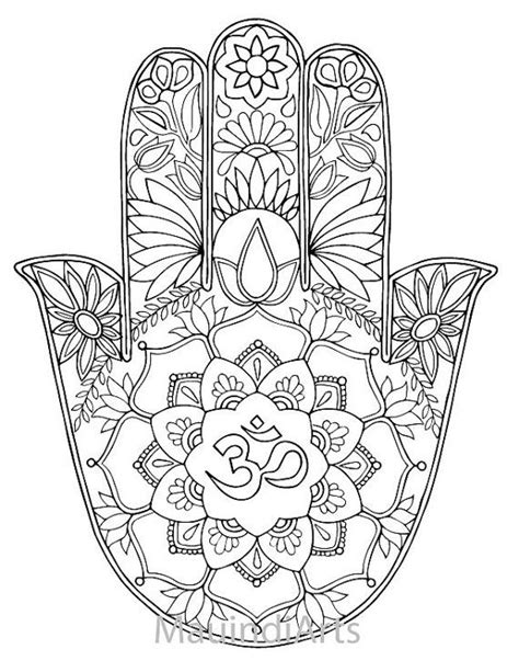 Hand Drawn Adult Coloring Page Print Hamsa Om by MauindiArts | canvas painting | Pinterest