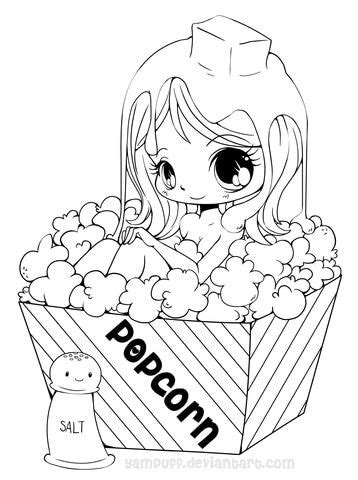 Chibi Popcorn Girl coloring page from Anime Girls category
