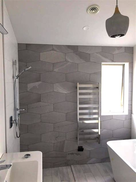 Bathroom Tile Feature Ideas by Cut Grey Hexagonal Feature Wall In A Stylish
