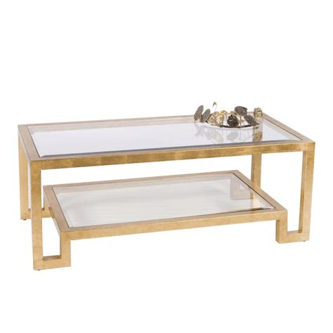 two tier glass coffee table worlds away winston gold leaf two tier coffee table with