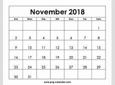 Kalender November 2018 Zum Ausdrucken Frei PNG Kalender