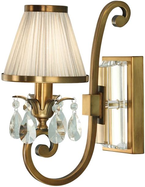 oksana brass single wall light crystal drops beige shade 63538