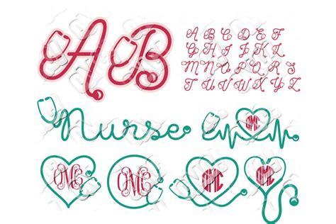 nurse stethoscope alphabet font  svgdxfepsjpgpng ohmycuttables