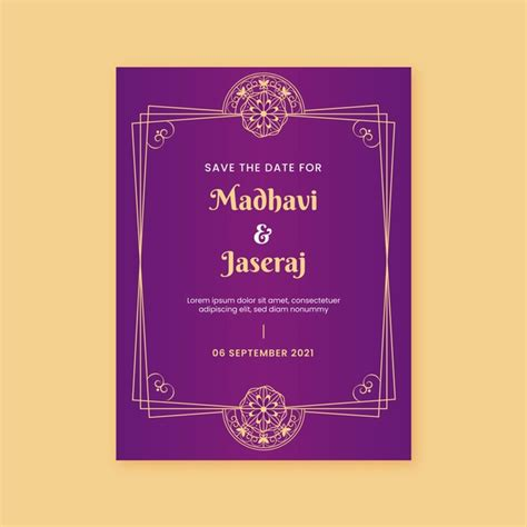 Indian wedding invitation template Free Vector
