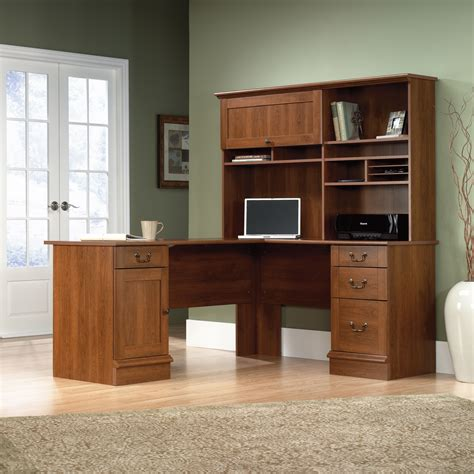 l shaped computer desk shaker cherry finish sauder