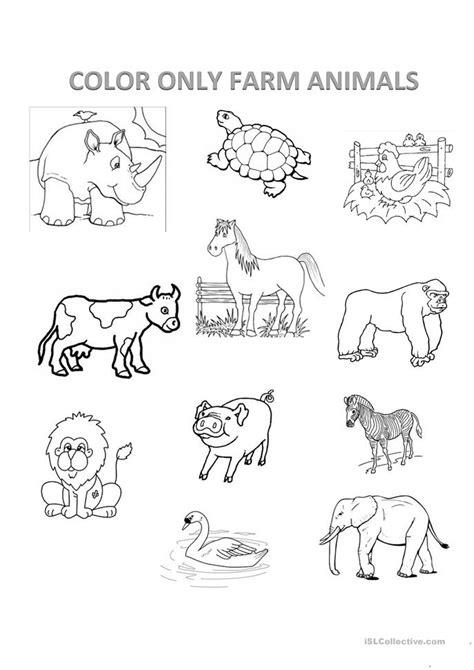 farm animals worksheet  esl printable worksheets