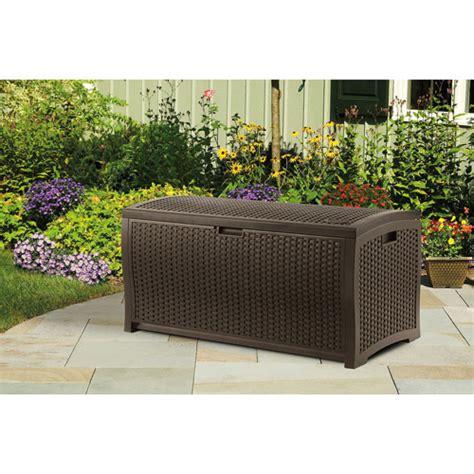 suncast  gallon wicker deck box outdoor garden patio