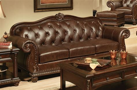 loveseat leather sofa sunderland traditional tufted sofa loveseat in espresso