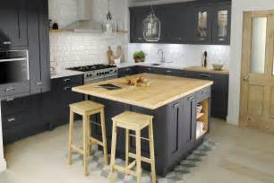 kitchen cabinets island classic shaker milbourne door in a bold charcoal