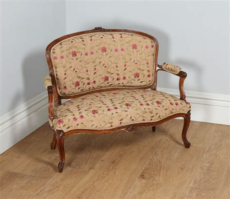 Settee For Bedroom by Louis Xvi Revival Walnut Silk Damask Upholstered
