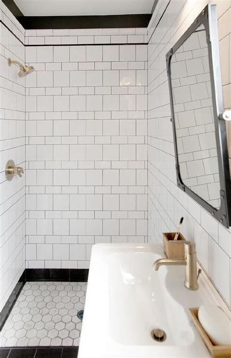Black Industrial Bathroom Mirror by Black And White Bathroom Boasts A Black Rivet Industrial