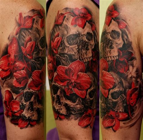 beautiful red orchids  black skulls tattoo